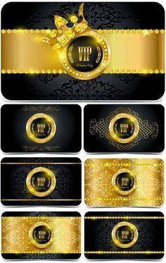 VIP card with gold decoration, vector Vip Logo, Vip Card, Kodak Moment, Logo Design, Graphic Design, Royal Design, Certificate Templates, Best Graphics, Class Ring