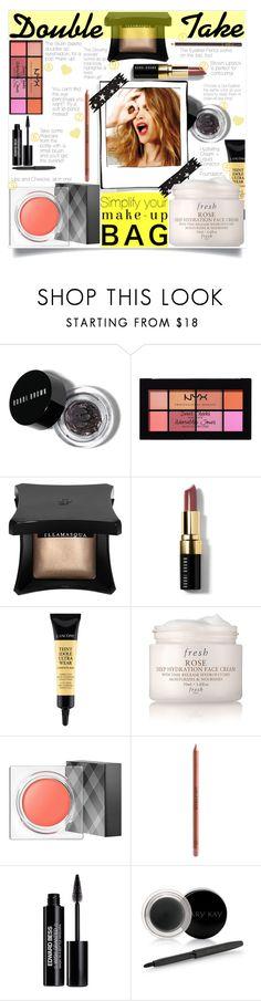 """Double Take: Multitasking Make-Up Tips"" by elisabetta-negro ❤ liked on Polyvore featuring beauty, Bobbi Brown Cosmetics, Celestine, NYX, Illamasqua, Lancôme, Fresh, Burberry, MAKE UP FOR EVER and Edward Bess"