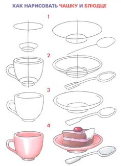 how to draw a cup and cake
