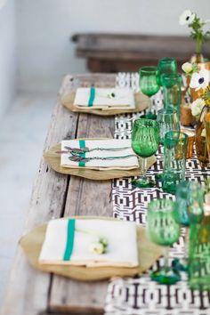 Green & Amber Table Setting