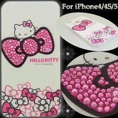Hello Kitty Shining decoration iPhone Cover 4:4S:5 rhinestone Swarovski!