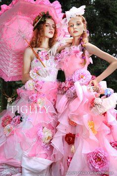 ウェディングドレス、ウエディングドレス、カラードレス、お花、ピンク、リボン