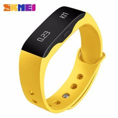 Yellow Smart Wristband with Real-time Sports Tracking #skmei