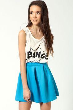 Bright blue skater skirt  Skater Dress cute #casualoutfit #kelly751  #SkaterDress #Skater #Dress #topdress www.2dayslook.com