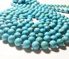 Long Turquoise Necklace Long Blue Beaded Necklace by PetitDepot