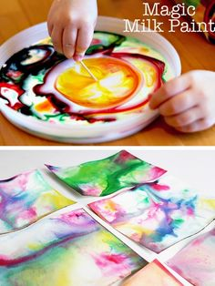 rainbowsandunicornscrafts:  DIY Kids' Experiments with Milk. DIY Magic Milk Painting Tutorial from Modern Parents Messy Kids. Milk, food coloring, and a toothpick with dish washing liquid are all that are needed. There's another tutorial here. DIY Marbleized Magic Milk Paper Tutorial from babble dabble do.