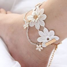 #Fashion jewelry white lace #women's anklets #vintage foot jewelry birthday gift ,  View more on the LINK: http://www.zeppy.io/product/gb/2/151985343486/