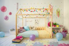 Sweet colorful girls room interior design, play wood house, house bed, bed house, Montessori bed, wood bed, kid's furniture, house bed frame, wood house