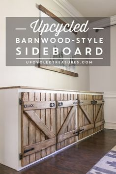 Dumpster Diving at it's finest! See how a thrown out cabinet is transformed into an upcycled barnwood style sideboard. diy build how to make Upcycled Barnwood Style Cabinet Wood Kitchen Cabinets, Diy Cabinets, Rustic Cabinets, Rustic Sideboard, Buffet Cabinet, Cabinet Doors, Cabinet Ideas, Barn Wood Crafts, Home Coffee Stations