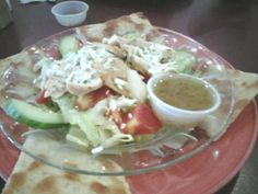 Greek Salad with Chicken, served with Grilled Pita Bread @ Tres Bean Coffee House.  $7.95 including tax