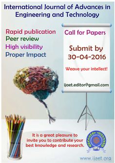 Weave your intellect. Select IJAET for publication of your quality research work. Peer Review, Research, The Selection, Weave, Journal, Paper, Search, Hair Lengthening, Science Inquiry
