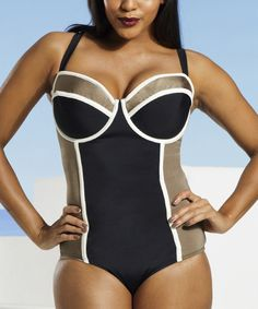 Look at this Black & Taupe Crisscross Underwire One-Piece - Women & Plus on #zulily today!