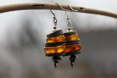 Modern Amber Earrings / Honey Amber Dangle by DreamsFactory