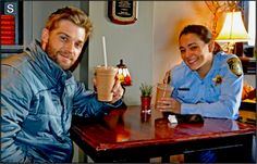 Mike Vogel and Natalie Martinez on set of Under the Dome season 2