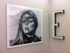 "Brigitte Bardot with ""E"" sign eltter from the '60. http://www.etsy.com/shop/TheItalicLetter"
