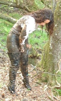 Uploaded from Yahoo! Tight Leggings, Leggings Are Not Pants, Land Girls, Girls In Mud, Mudding Girls, Thigh High Boots Heels, Wet Look, Rain Wear, Thigh Highs