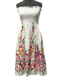 HAWAIIAN WHITE FLORAL SHORT SUN DRESS- ONE SIZE « Dress Adds Everyday