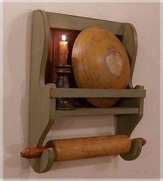 Farmhouse Rolling Pin Bowl Rack / Primitive Kitchen Storage / Sage Green / Color Choice. $38.00, via Etsy.