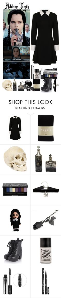 """Wednesday Addams ~ Addams Family - Day 8 of Halloween Count Down ~ Outfit #3"" by insane-alice-madness ❤ liked on Polyvore featuring Falke and Kat Von D"