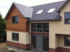 wood cladding and render and brick Wood Cladding Exterior, Larch Cladding, Cladding Design, House Cladding, Home Exterior Makeover, Exterior Remodel, Style At Home, Modern Exterior, Exterior Design