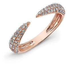 Anne Sisteron  14KT Rose Gold Diamond Horn Pinkie Ring ($600) ❤ liked on Polyvore featuring jewelry, rings, rose, rose gold ring, rose gold jewellery, diamond jewellery, rose ring and rose gold pinky ring