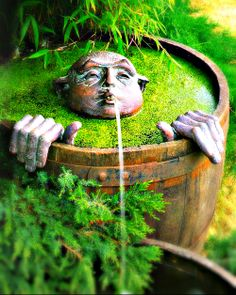 Whimsical fountain for your garden - Buddha taking a bath!*****Follow our unique garden themed boards at www.pinterest.com/earthwormtec *****Follow us on www.facebook.com/earthwormtec for great organic gardening tips #meditationalgarden