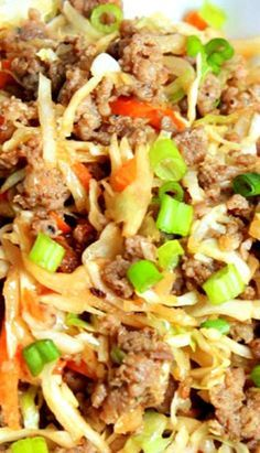 Egg Roll In A Bowl | 1 lb ground country sausage 1 bag dry coleslaw mix (shredded cabbage and carrots) 5 cloves garlic, minced 1/2 cup soy sauce  1 teaspoon ginger sliced green onion