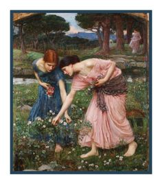 Gather Ye Rosebuds inspired by John William Waterhouse Counted Cross Stitch or Counted Needlepoint Pattern