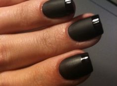 I really like this idea -- French manicure technique with matte and glossy polish