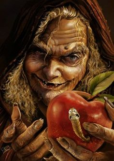 old witch with poisoned apple