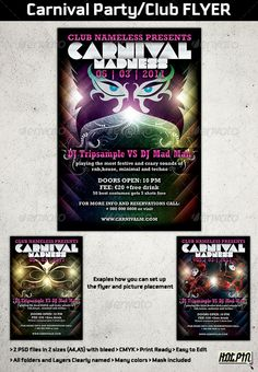 Buy Carnival Party/Club Flyer Template by Hotpin on GraphicRiver. Carnival club party flyer template is a modern design psd template suitable for any carnival party or club event you . Print Templates, Psd Templates, Flyer Template, Flyer And Poster Design, Flyer Design, Print Design, Graphic Design, Club Flyers, Club Parties