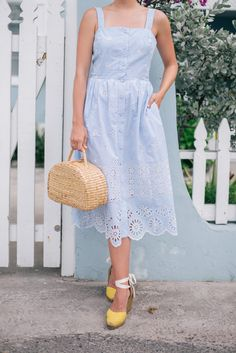 Eyelet dress + yello