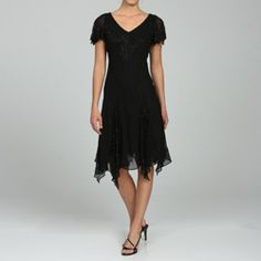 @Overstock - Delicate beadwork cascades over the bodice, shoulders and inset pleats of this lovely JLaxmi dress. The double v-neckline, semi-sheer flutter sleeves and handkerchief hemline enhance the elegant look of this short special occasion dress.http://www.overstock.com/Clothing-Shoes/JLaxmi-Womens-Beaded-Handkerchief-hem-Dress/4802322/product.html?CID=214117 $151.99