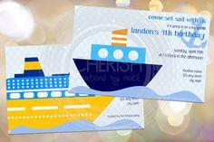Set Sail - 50 Birthday Bon Voyage Wedding Brunch Cruise Boat Party Shower Bridal Couples - Custom Quantities Available Custom Invitation. $30.00, via Etsy.