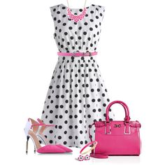 """Dress in Black Dots"" by allisha-fa on Polyvore"