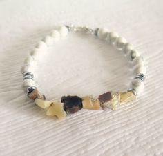 Natural Opal Nugget and Howlite Bracelet #jewelry #bracelet #boho $30