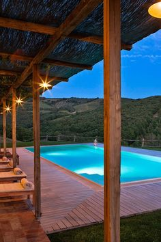 The shaded pool is the ultimate spot to while away a lazy afternoon under the Tuscan sun. #Jetsetter Conti di San Bonfacio (Tuscany, Italy)