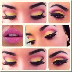 Pink, yellow eyeshadow make-up Pretty Makeup, Love Makeup, Makeup Inspo, Makeup Inspiration, Makeup Tips, Beauty Makeup, Makeup Looks, Hair Makeup, Pink Makeup