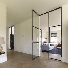 Herringbone style and finish Interior And Exterior, Interior Design, Steel Doors, Internal Doors, Bauhaus, Windows And Doors, Glass Door, My Dream Home, New Homes