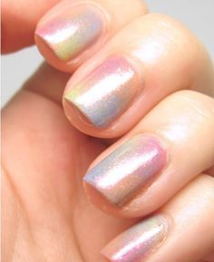 Pale Pastel Watercolor with glitter over coat #Spring Nail Art