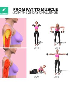 Ready to get toned, strong arms? Get rid of arm fat within 28 days with the right workouts from FitonomyApp. These workouts not only will help strengthen your biceps, triceps and everything in between, you'll also see the difference in your armpit too. Fitness Workouts, Gym Workout Videos, Gym Workout For Beginners, Fitness Workout For Women, Fun Workouts, Best Workout Plan, Workout Challenge, Morning Ab Workouts, Daily Exercise Routines