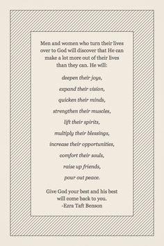 Ezra Taft Benson- I just found this and really loved it :) I'd like to have all of those blessings please :)