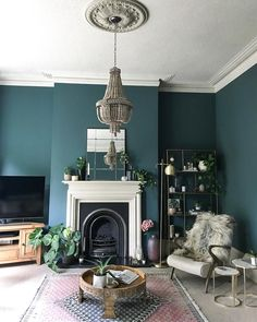 Home Decored Blue Living Room Inspiration Ideas Teal Living Rooms, Living Room Green, New Living Room, Living Room Designs, Small Living, Farrow And Ball Living Room, Modern Living, Living Room Chandeliers, Blue Feature Wall Living Room