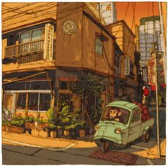 Tokyo 100 Views - Discover Tokyo through 100 beautiful illustrations Japanese Painting, Japanese Art, Japanese Prints, Illustrations, Illustration Art, Ligne Claire, Tokyo Streets, Photocollage, Japanese Streets