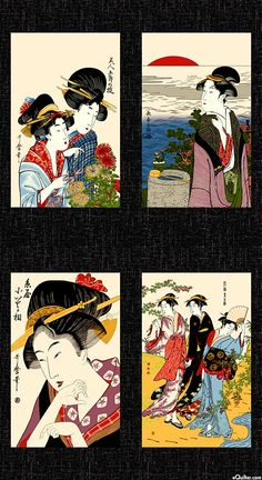 Quilting fabric panels asian