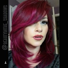 Color idea - Vanessa Mendez used for this stunning red! Regrowth Red + Magenta, mid-shaft to ends Magenta + Pink + Violet + White. Hair Color Red Highlights, Red Brown Hair Color, Brown Highlights, Rainbow Highlights, Violet Hair, Purple Hair, Pelo Color Morado, Magenta Hair Colors, Fall Hair Colors