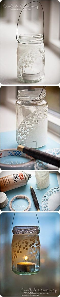 CRAFT: make a votive holder from a jar. spray paint over a paper doily to reveal a lace pattern. would be cute with frosted glass paint. Mason Jar Crafts, Mason Jar Diy, Bottles And Jars, Glass Jars, Diy Projects To Try, Crafts To Do, Deco Dyi, Frosted Glass Paint, Paper Doilies