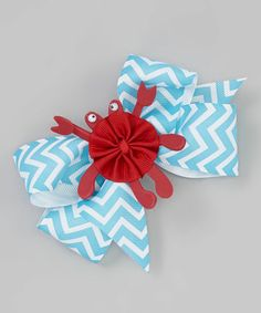 This Ocean Blue Zigzag Crab Bow Clip is perfect! #zulilyfinds