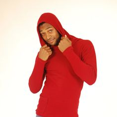 Men's Hoodie Red Organic Cotton with Side Pocket Eco by SoulRole, also offered in brown!