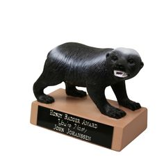 This Honey Badger don't care! Award this fierce critter to your biggest go-getter.  Customize the engraving on the base for free with your own special message!
